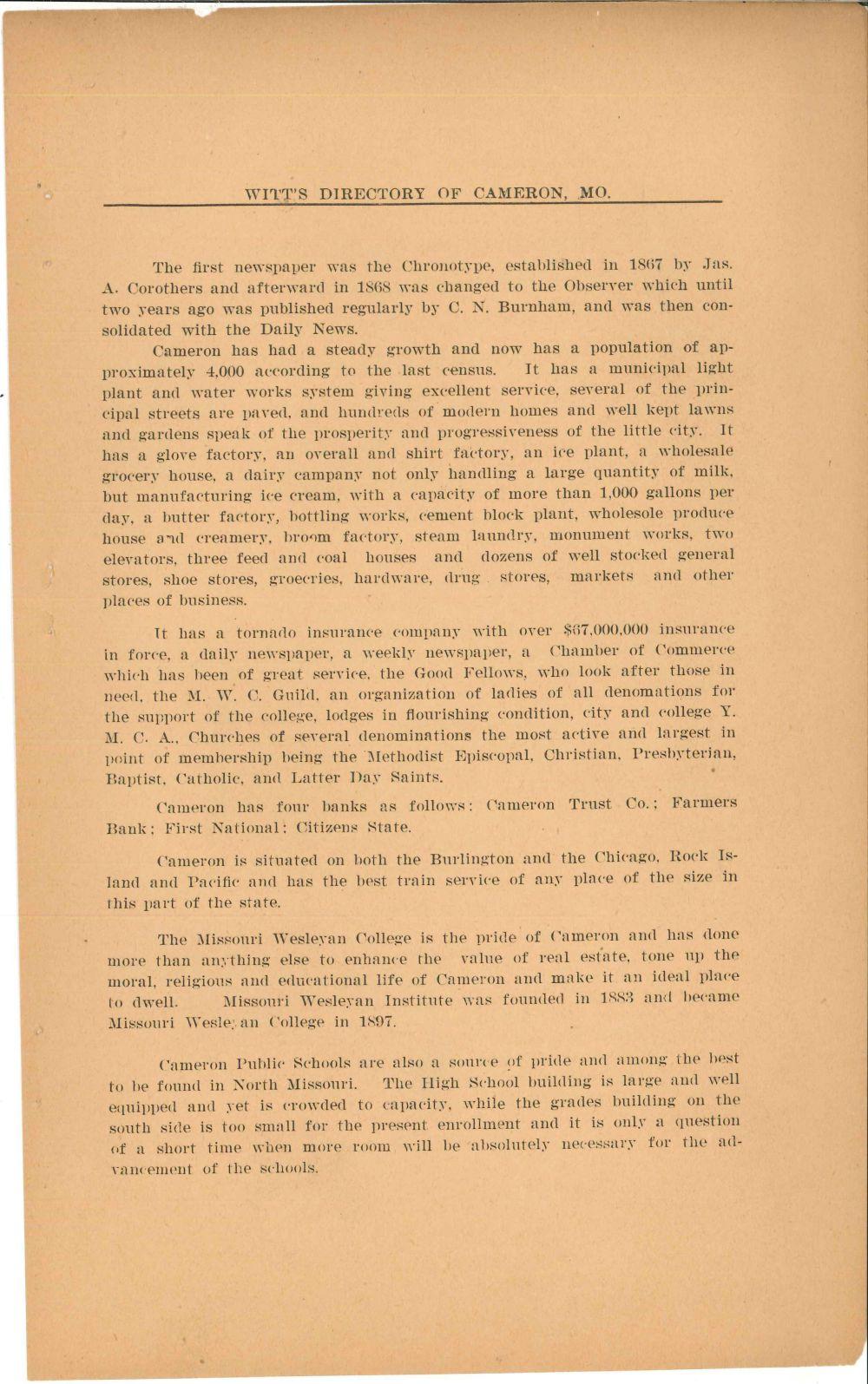 1923 Cameron Directory - Cameron Missouri History